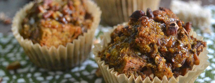 Vegan Pumpkin Pecan French Toast Muffins