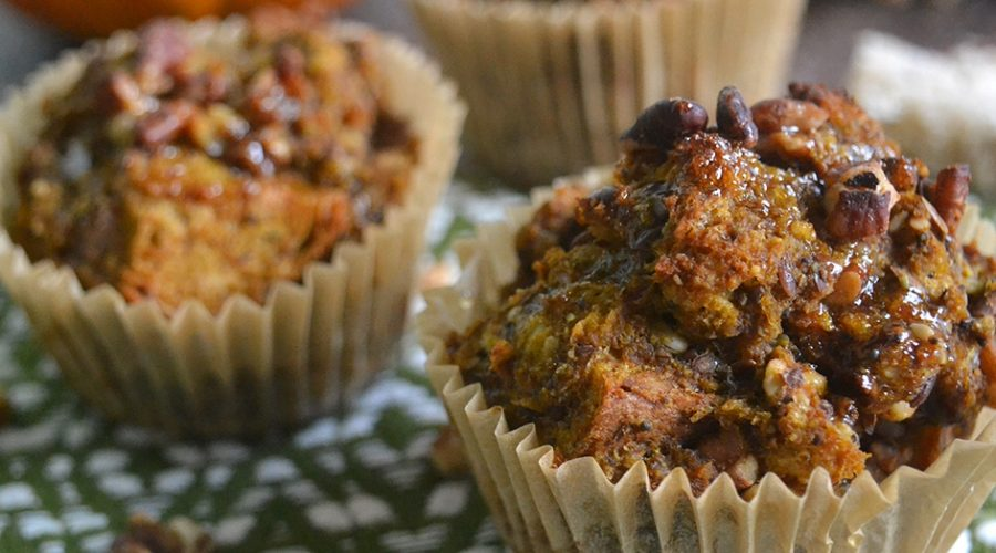 Vegan Pumpkin Pecan French Toast Muffins